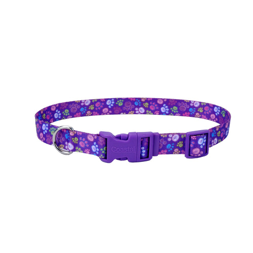 Coastal Adjustable Styles Dog Collar Purple Paws