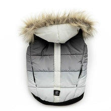 Load image into Gallery viewer, Silver Paw Quilted Puffer Grey and White Dog Jacket