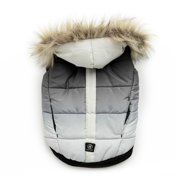 Silver Paw Quilted Puffer Grey and White Dog Jacket
