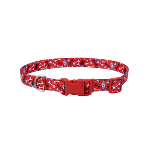 Coastal Adjustable Styles Dog Collar Red Bones