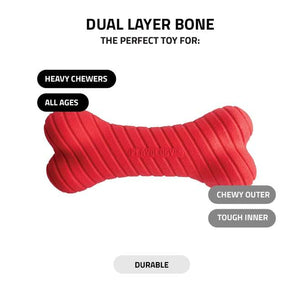 Playology Dual Layer Scented Bone Peanut Butter Dog Toy