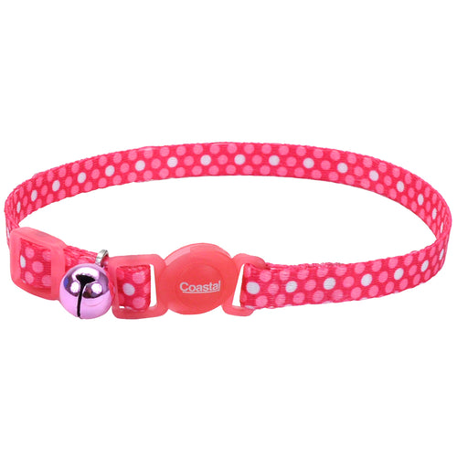 Coastal Adjustable Safe Cat Fashion Collar 8-12IN Breakaway Pink Dots