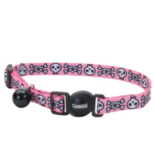 Coastal Adjustable Safe Cat Fashion Collar 8-12IN Breakaway Pink Skull
