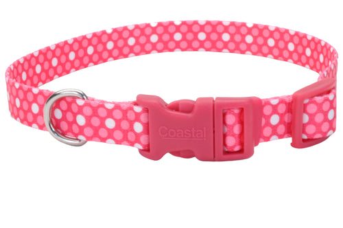 Coastal Adjustable Styles Dog Collar Pink Dots