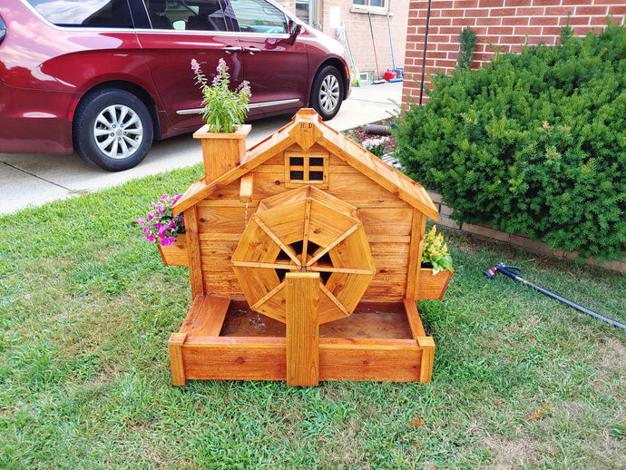 Cedar Working Water Wheel with Interior Solar Light and Window