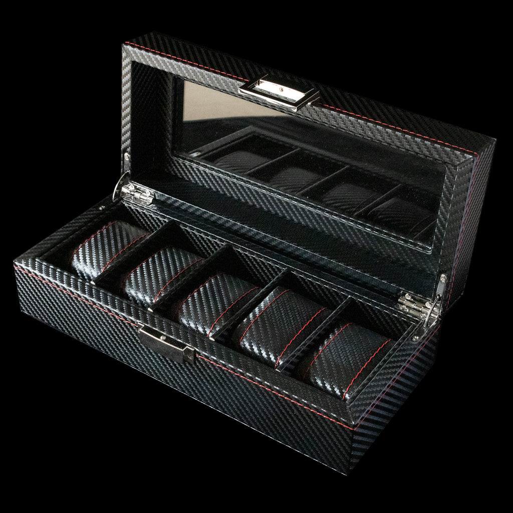 Watch Box - 5 Slot Black & Red carbon fibre