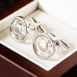 Cufflinks - Silver Steering Wheel