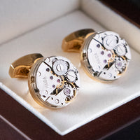 Cufflink - Genuine Watch Movement Gold Pair