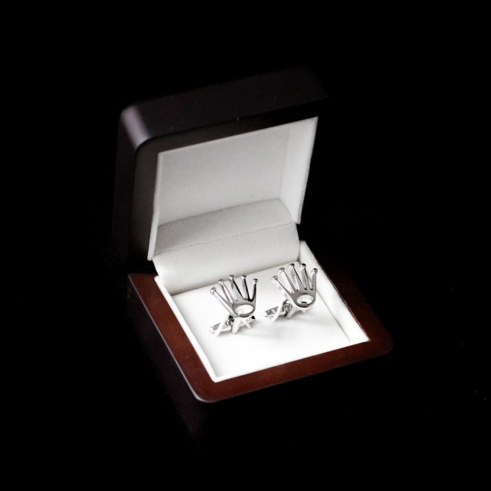 Silver Crown Cufflink Pair