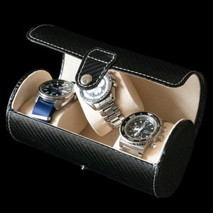 Watch Box - Cylindrical 3 Watch Carbon