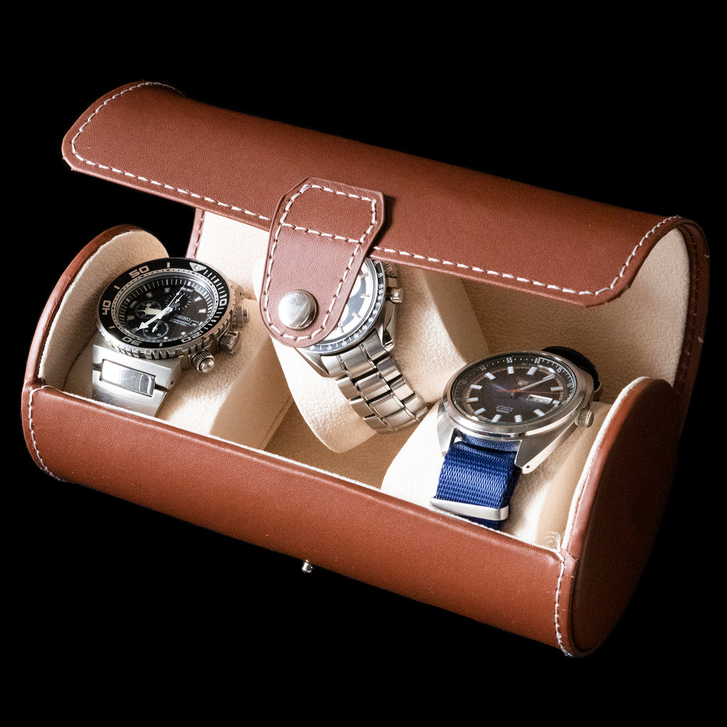 Watch Box - Cylindrical 3 Watch Brown