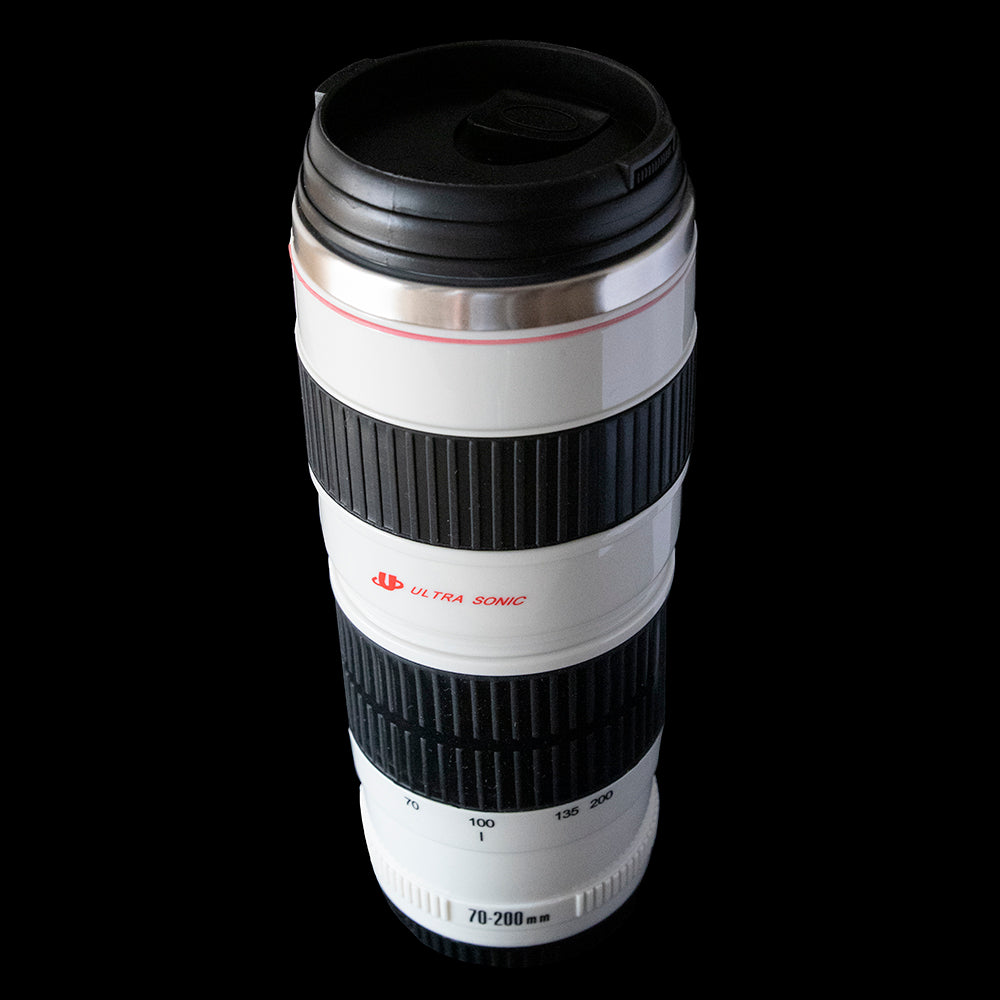 Camera Lens Large White Travel Mug