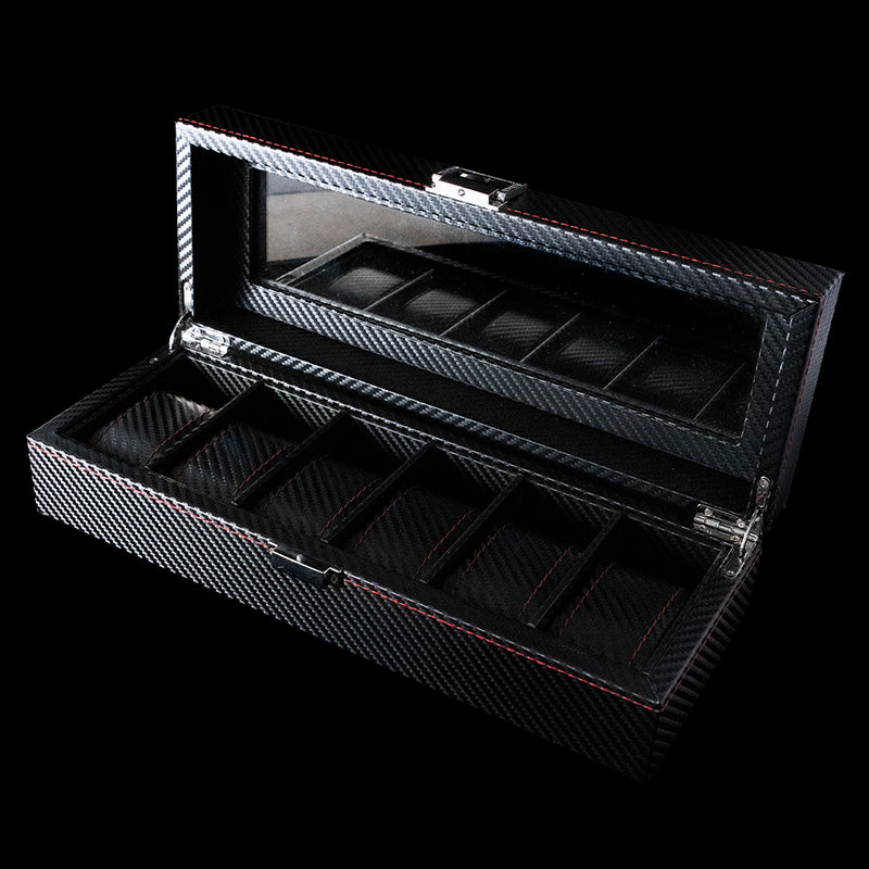Watch Box - 6 Slot Black & Red carbon fibre
