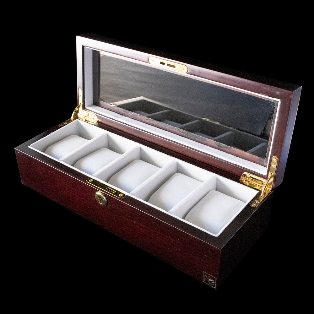 Watch Box - Quality Mahogany 5 Slot