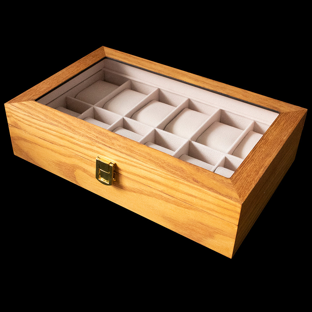 Watch box - Tan Wood 12 Slot