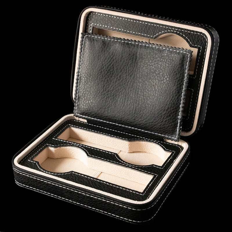 Watch Box - Black zippered 4 slot