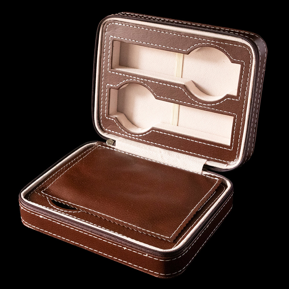 Watch box - Brown zippered 4 slot