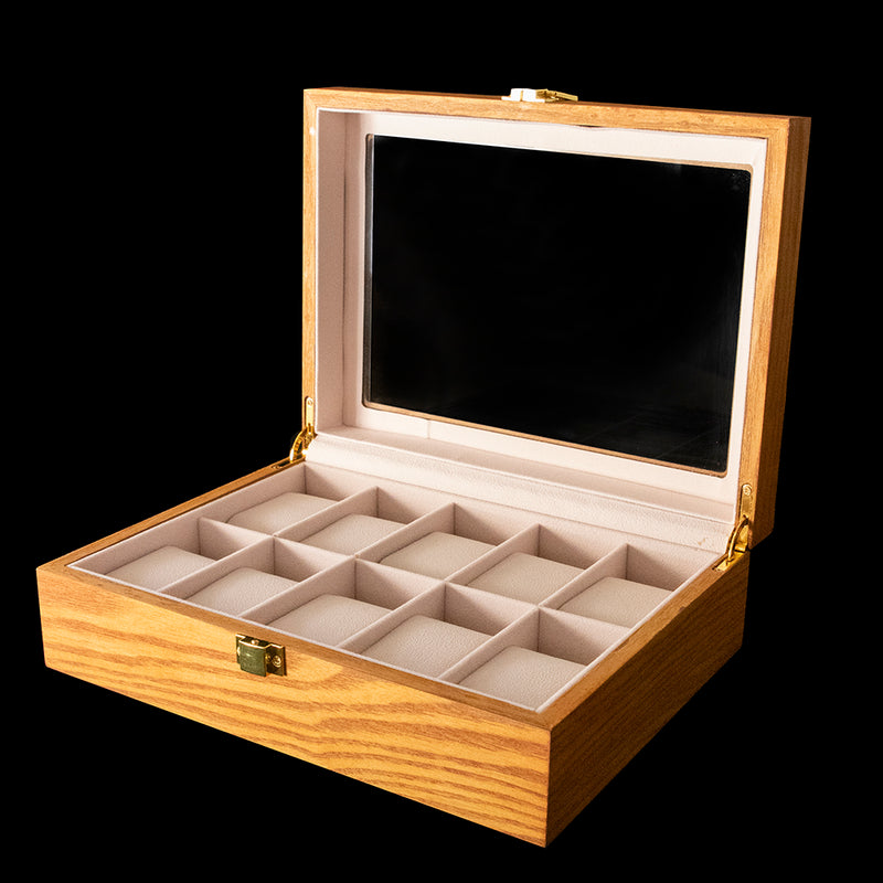 Watch box - Tan Wood 10 Slot