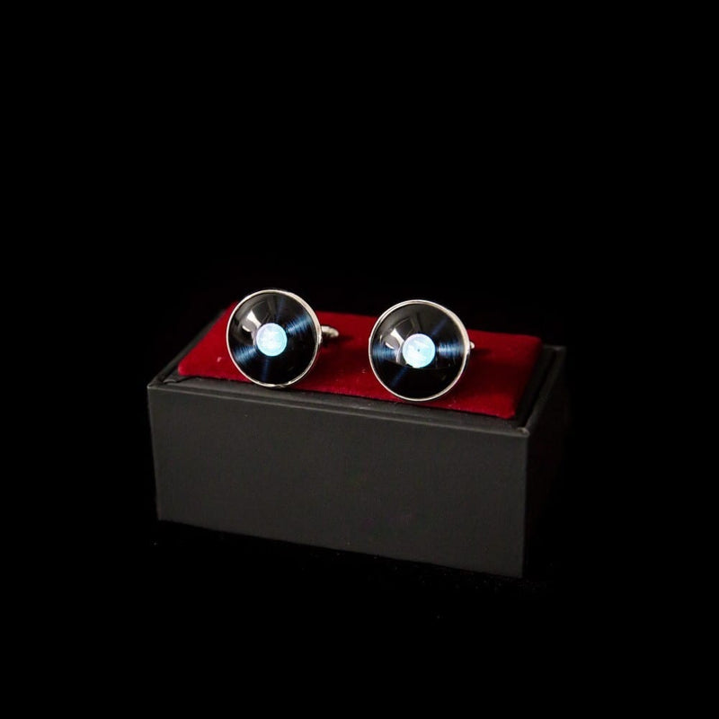 Silver Record Cufflink Pair