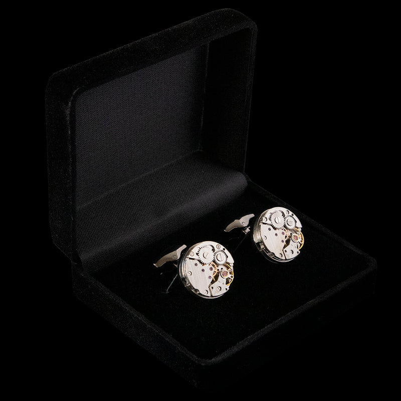 Cufflinks - Genuine Watch Movement on Black Metal