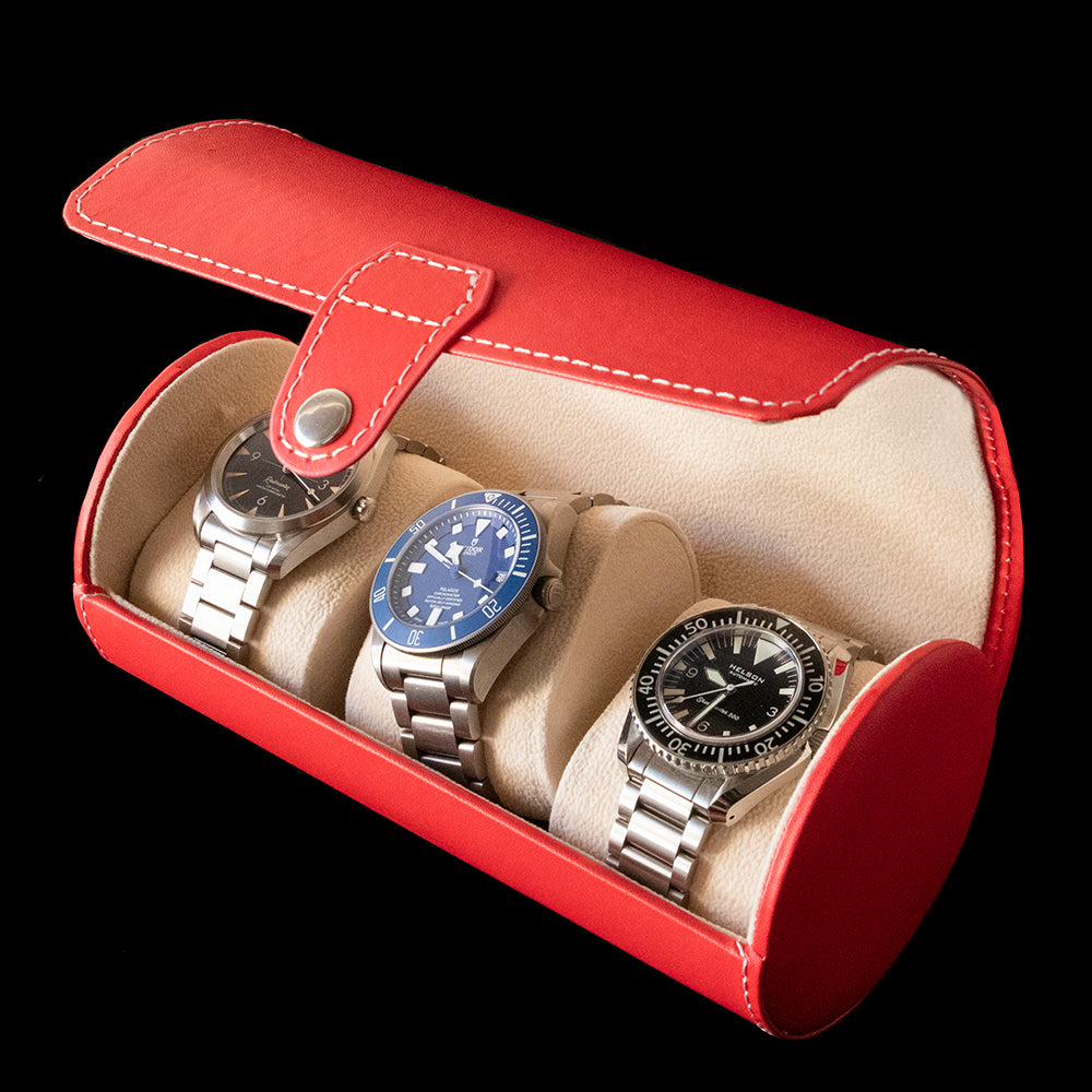 Watch Box - Cylindrical 3 Watch Red