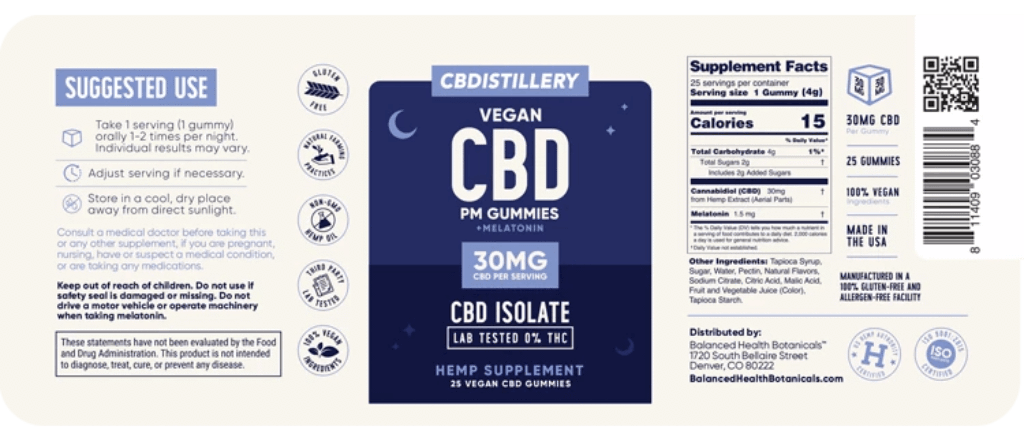 CBD Nighttime Gummies 30mg ~ 30ct