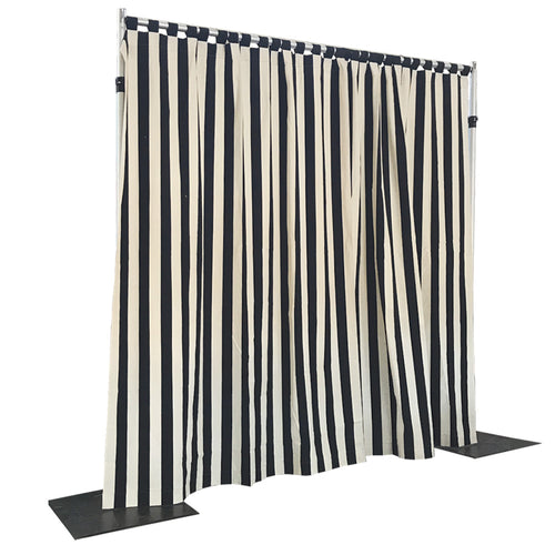 Black and White Stripe Drapes on Push Ups.