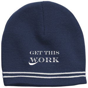 Work Brand Navy Colorblock Beanie