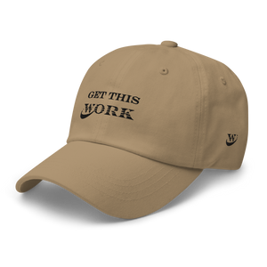 Work Brand Khaki Dad Hats (Black Embroidery)