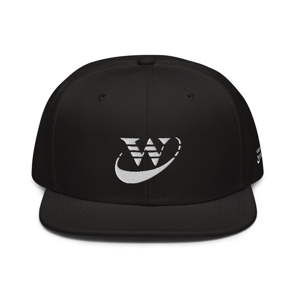Work Driven Black Snapback Hat (White Embroidery)