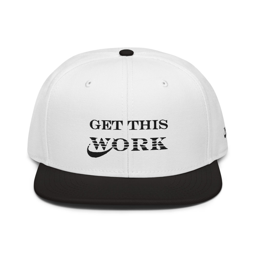 Work Brand White/ Black Snapback Hat (Black Embroidery)