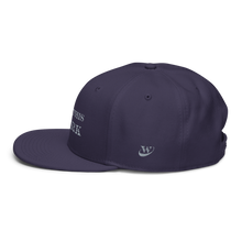 Load image into Gallery viewer, Work Brand Navy Snapback Hat (White Embroidery)