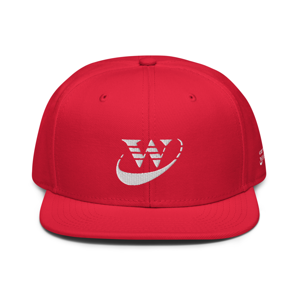 Work Driven Red Snapback Hat (White Embroidery)