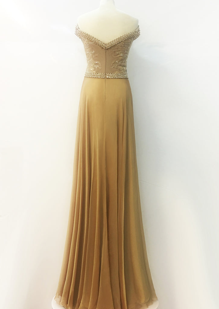 Golden Women Dress French Lace Chiffon Crystal Sequins Pearl