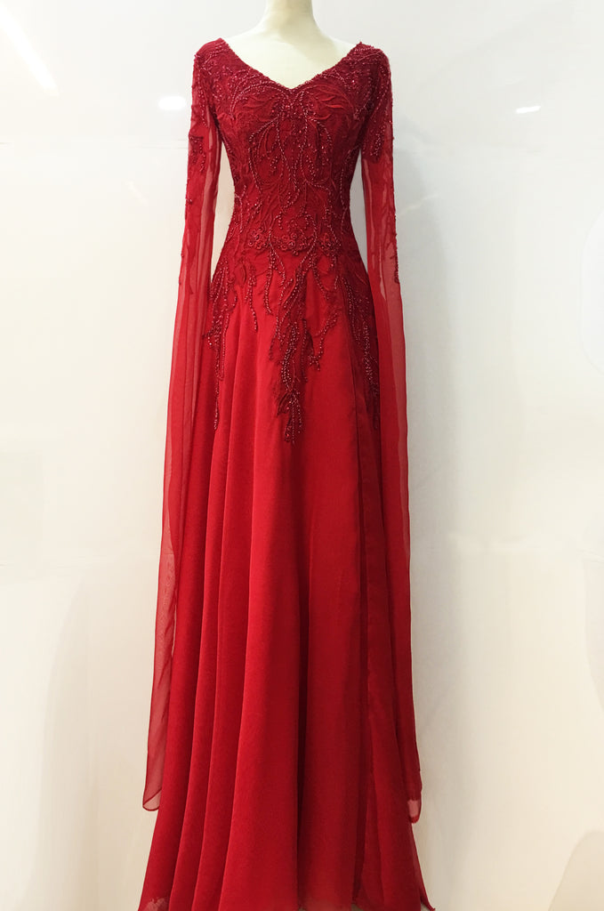 Red Women Dress Threadwork fabric Chiffon Silk Lining Pearl Beads Sequins
