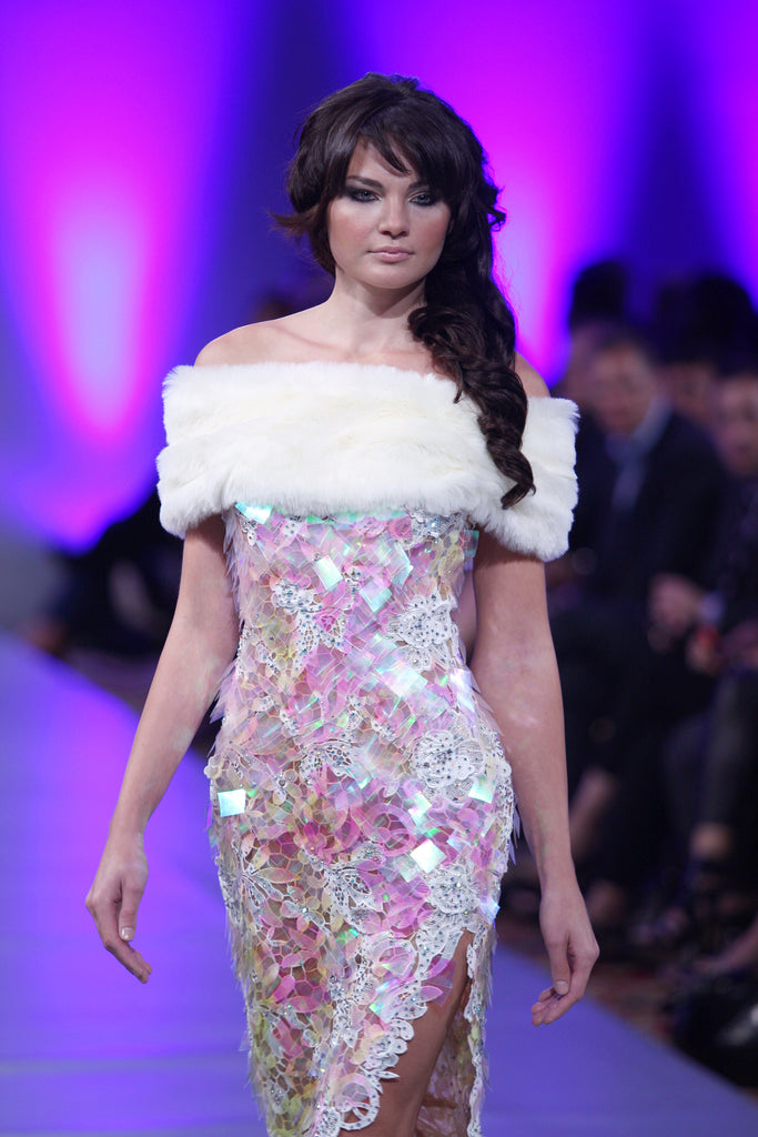 Off White Pink Women Dress with Guipure Spangle Feather