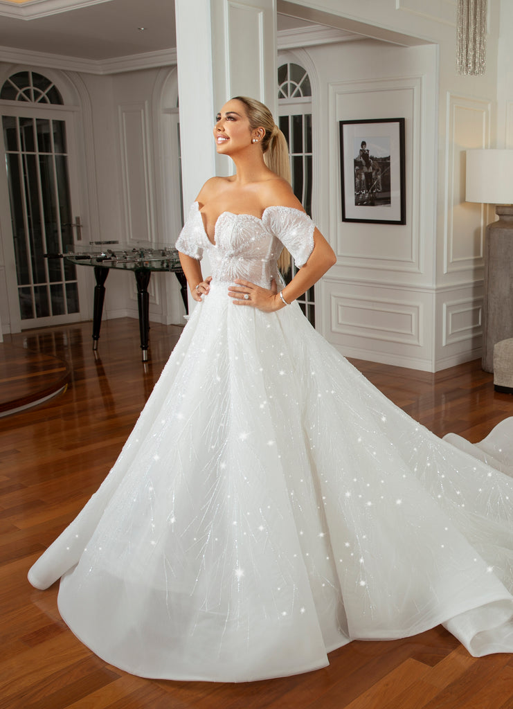 Luxury Wedding Dress With Swarovski Crystal Sparkling