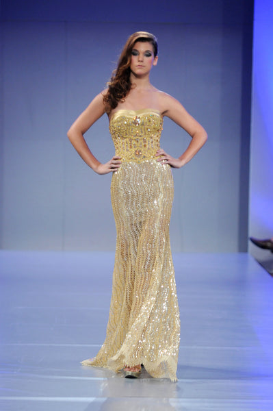 Golden women Dress Italian Tulle with Guipure and Swarovski Crystal Beads
