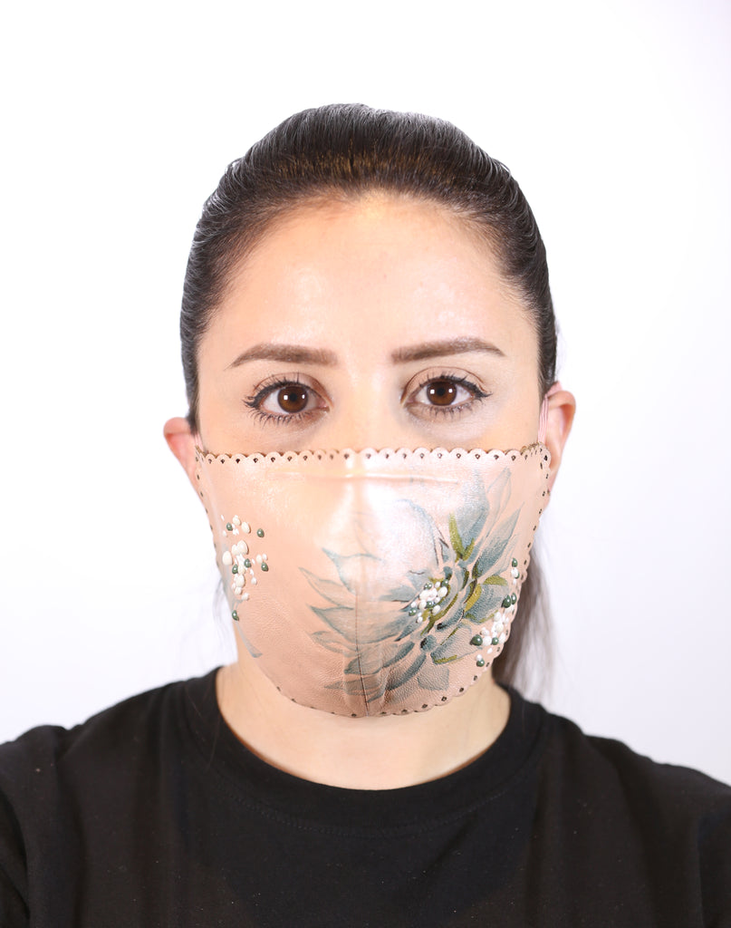 Woman Hand Made Stylish Leather Face Mask