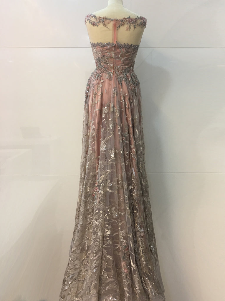 Peach Women Dress Beaded lace Taffeta Satin