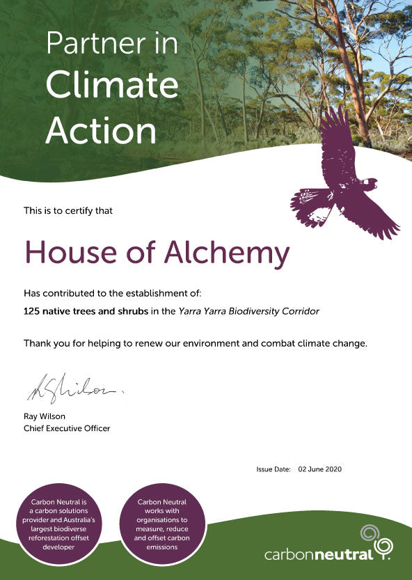 House of Alchemy Carbon Neutral Tree Planting Certificate