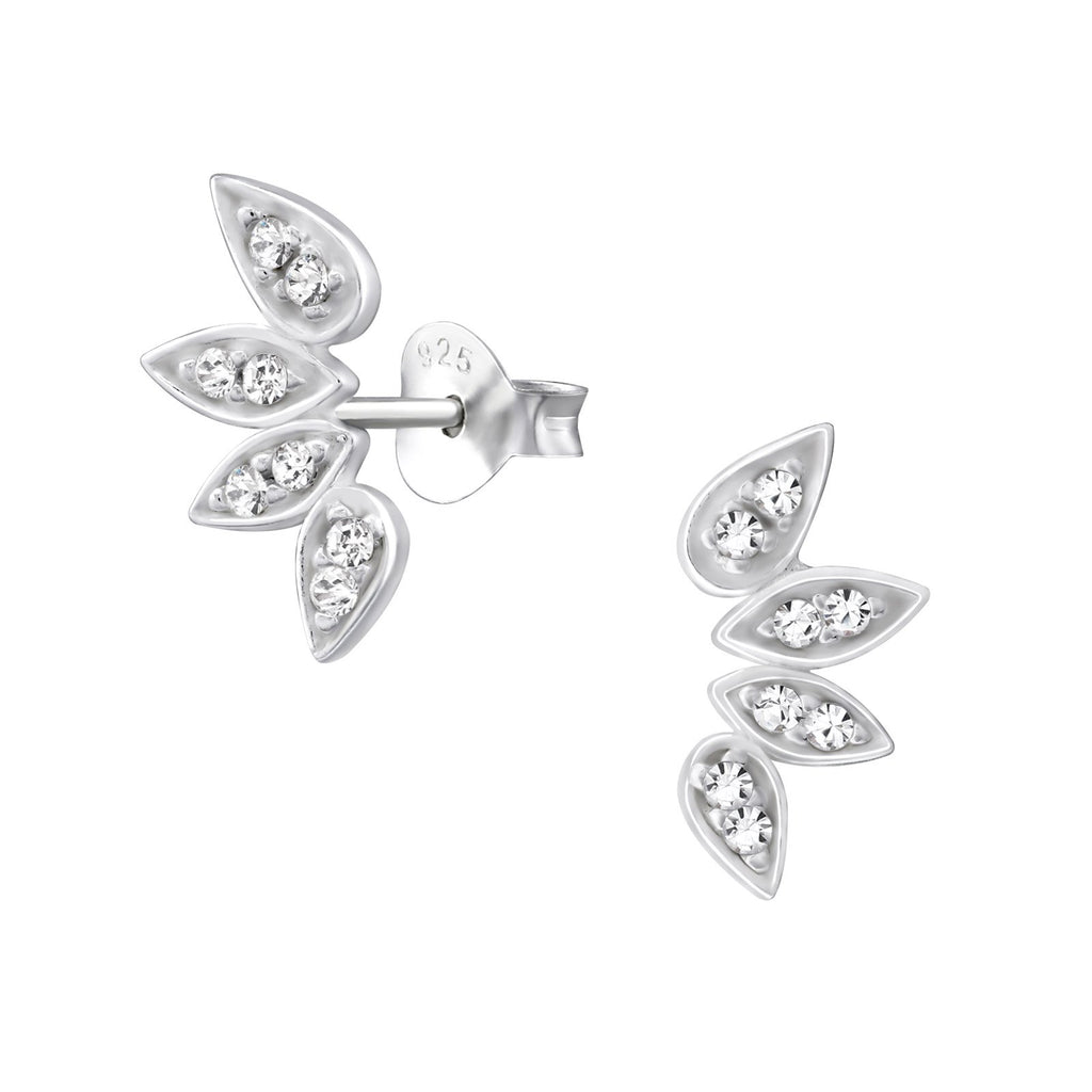 Angel Wings Cubic Zirconia Stud Earring - Sterling Silver-Earrings-House of Alchemy