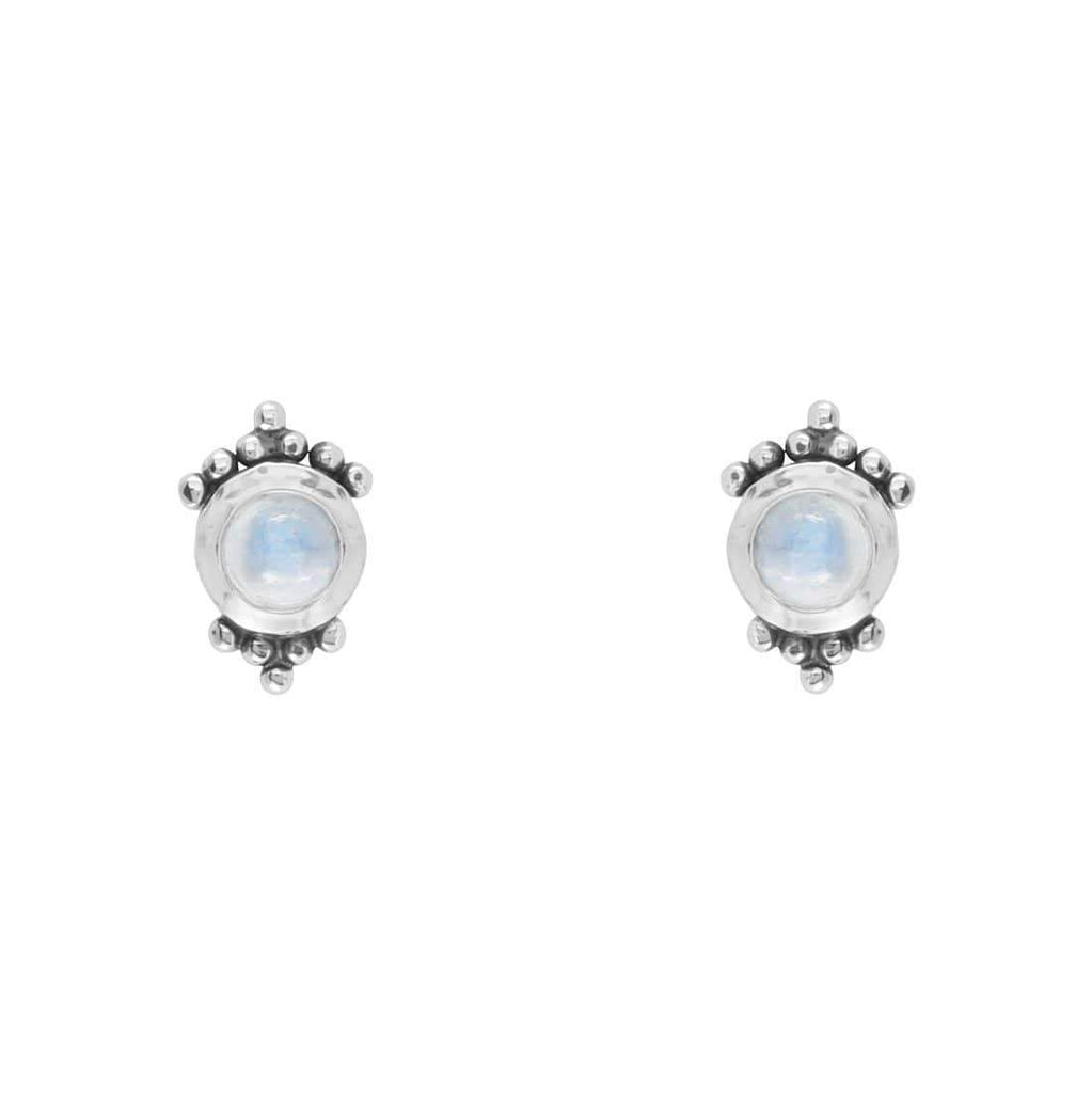 Tri-Dot Bohemian Moonstone Stud Earrings - Sterling Silver-Earrings-House of Alchemy