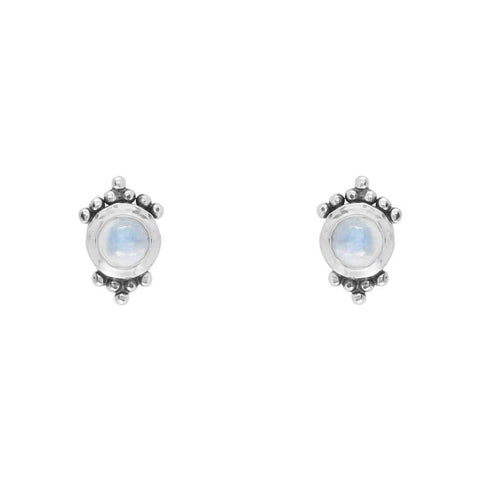 Bohemian Moonstone Stud Earrings - Sterling Silver