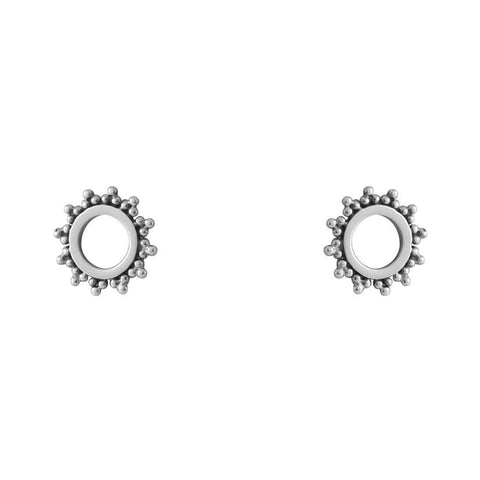 Bohemian Sun Circle Stud Earrings - Sterling Silver