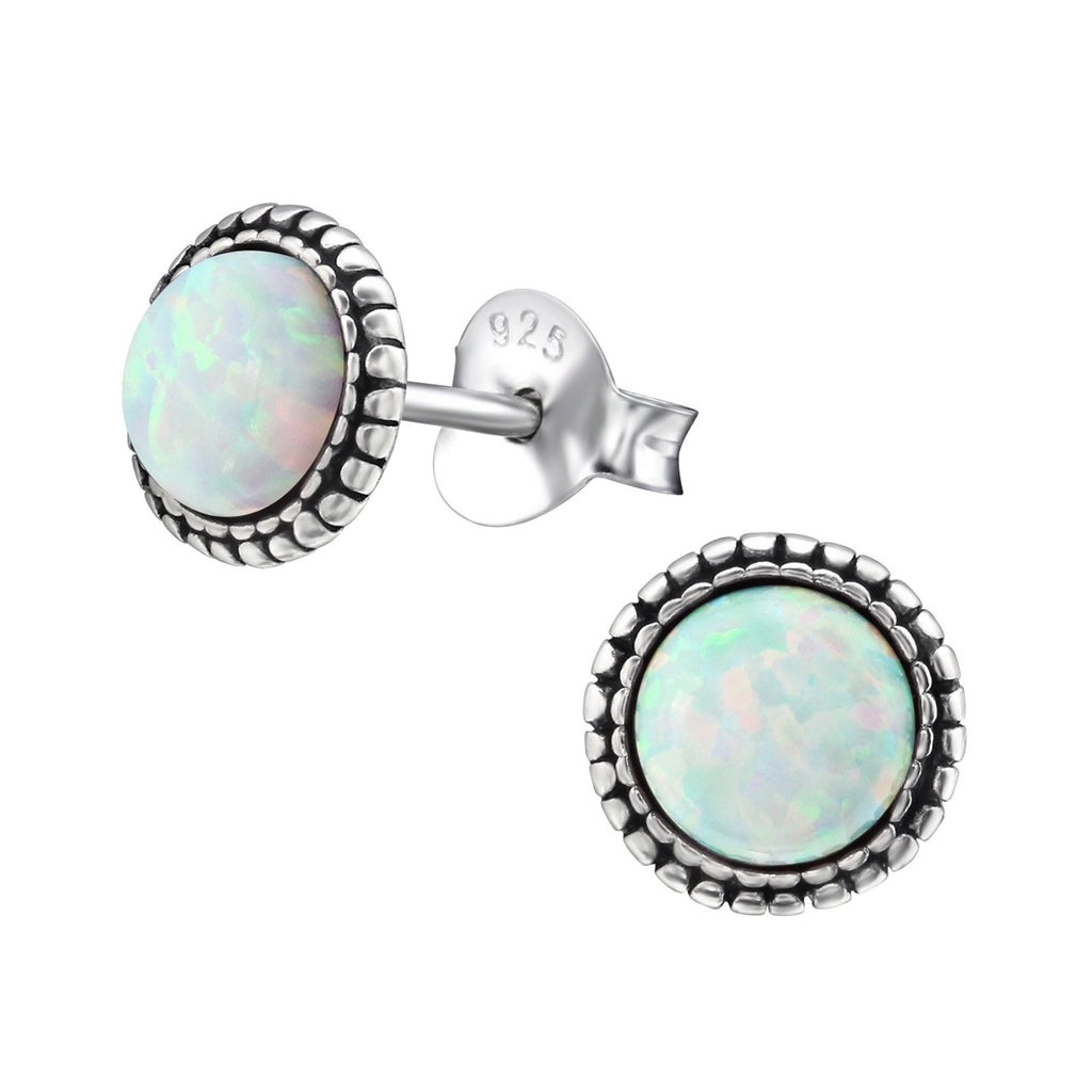 Bohemian Round White Opal Stud Earring - Sterling Silver-Earrings-House of Alchemy