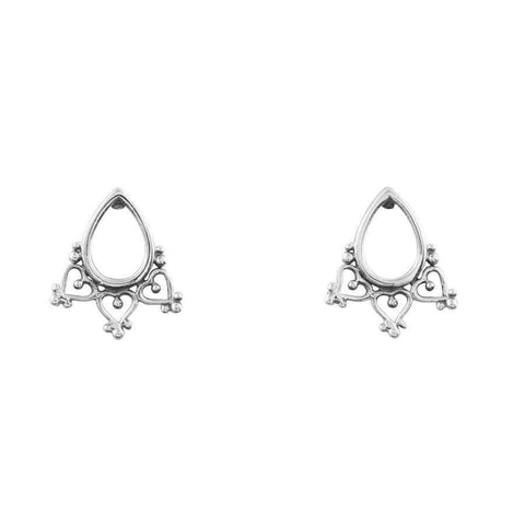 Bohemian Teardrop Stud Earrings - Sterling Silver