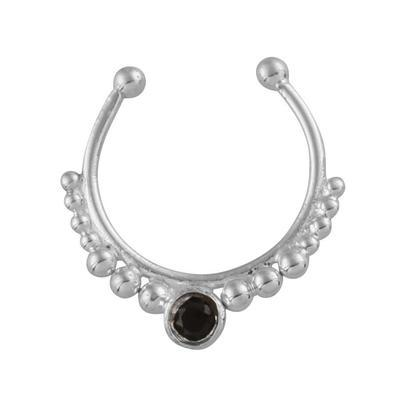 Black Spinel Crystal Faux Septum Ring - Sterling Silver-Faux Septum Ring-House of Alchemy