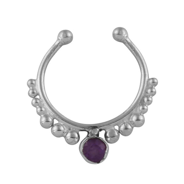 Amethyst Crystal Faux Septum Ring - Sterling Silver