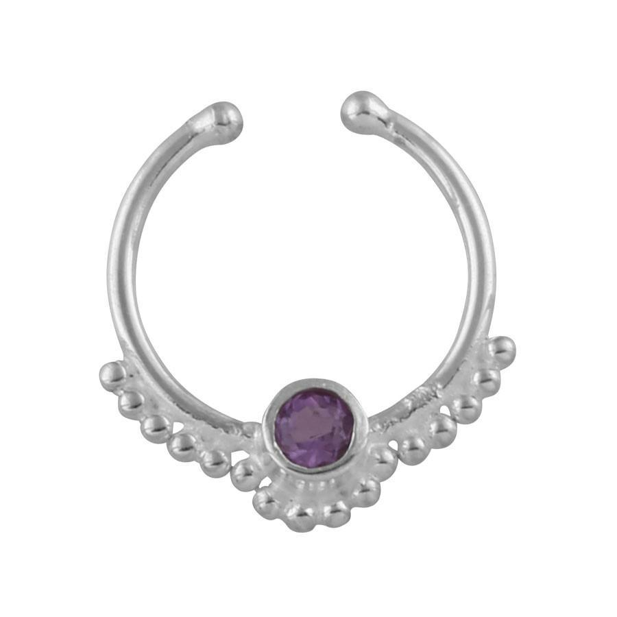Gypsy - Amethyst Crystal Faux Septum Ring - Sterling Silver-Faux Septum Ring-House of Alchemy